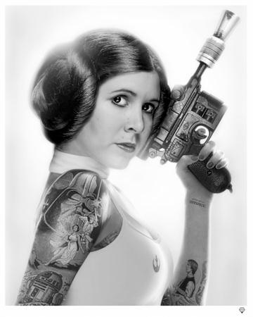 Princess Leia Tattoo B&W By J J Adams